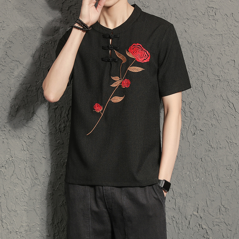 Chinese Style T Shirt Men 2018 Summer Short Sleeve Rose Embroidery Mens T-Shirts Classic Pan Kou Linen Tee Shirt Homme 5XL-M Hot