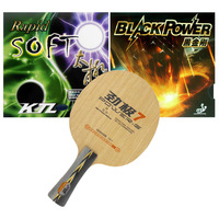 DHS POWER G7 PG7 PG.7 Pure Wood Long Shakehand FL with KTL Blackpower and KTL Rapid SOFT Table Tennis Rubber Pimples In