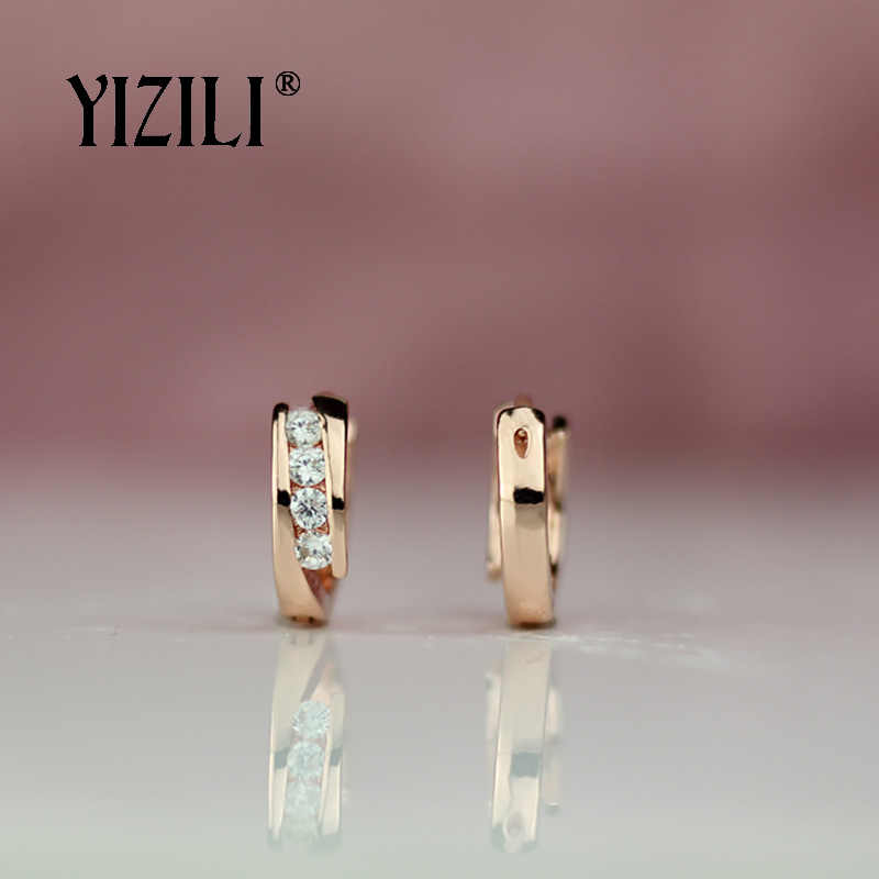 YIZILI hot bán 585 Tăng Bông Tai Vàng Vòng Zircon Tự Nhiên Treo Dangle Earrings Drop EarringFashion Trang Sức Cưới A055