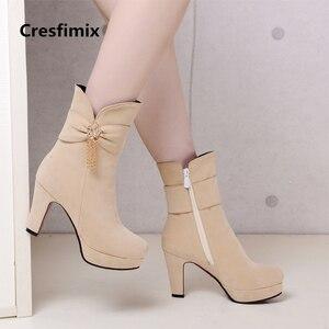 Image 1 - Kobiety dorywczo wysokiej jakości czarne buty na wysokim obcasie lady casual street buty z boczny zamek błyskawiczny lady fajne buty jesień i zima e2303
