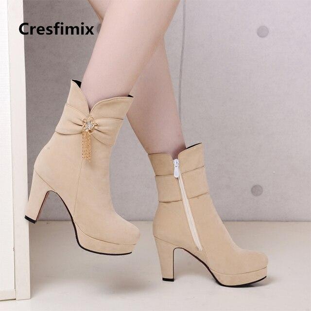 Kobiety dorywczo wysokiej jakości czarne buty na wysokim obcasie lady casual street buty z boczny zamek błyskawiczny lady fajne buty jesień i zima e2303