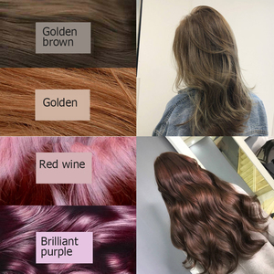 Image 5 - Champú de tinte de pelo Natural suave brillante marrón dorado Color vino rojo púrpura, champú, depilación gris y negro para hombres y mujeres 500ML