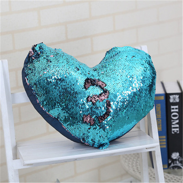 DIY new Mermaid heart shaped double sided sequins pillowcase flip ...