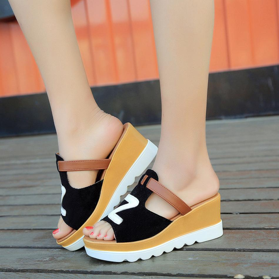 Summer Fashion Gladiator Casual Solid Color Wedges Peep Toe Flatform Shoes High Heels Sandals Slippers Sexy Women Footwear