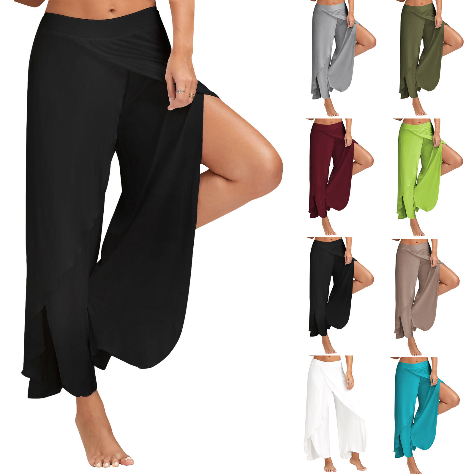 Summer Solid Color Wide Leg Trousers trousers women cargo pants women wide leg pants Plus Size Women Pants Casual Mid Waist Slit in Pants amp Capris from Women 39 s Clothing