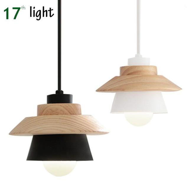 Modern E27 Scandinavian Style Korea Design Simple Wood Aluminum Pendant Lights Suspension Luminaire Lamp Black White