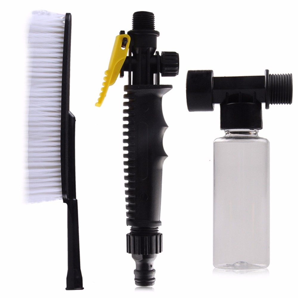 1pc White Car Wash Brush Auto Exterior Retractable Long Handle Water Flow Switch Foam Bottle Car Cleaning Brush New