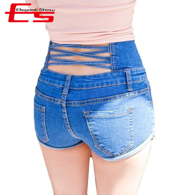 New 2017 Summer Jeans Shorts Fashion Women High Waisted Short Jeans Criss-Cross Vintage Single Button Denim Shorts Feminino