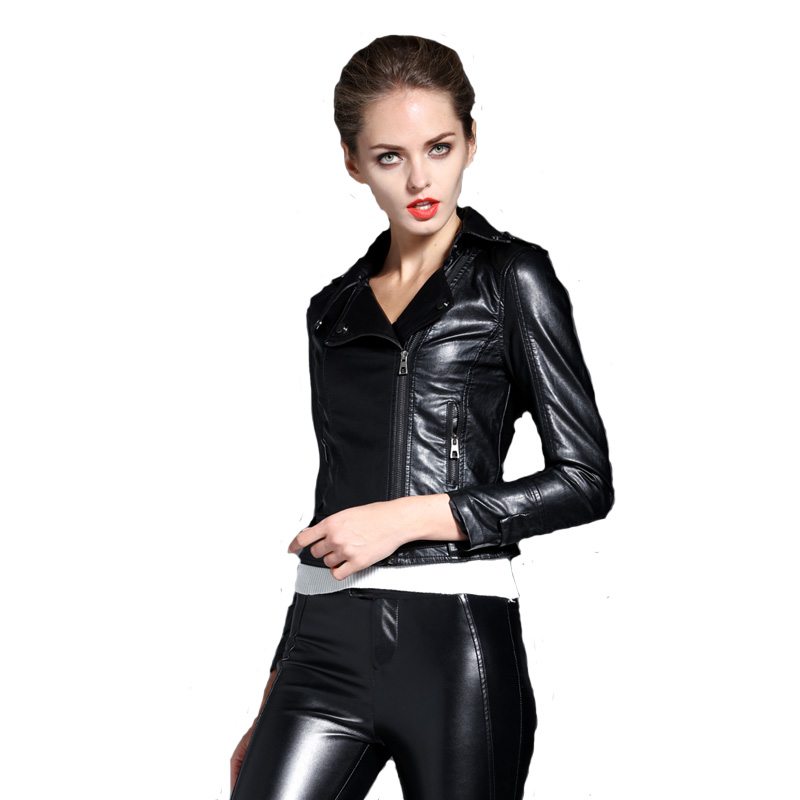 2016 Autumn Plus Size Slim Women Short PU Leather Jacket Brasil Trend Coat  Black Elegant Female - Online Get Cheap Womens Bomber Jacket Trend -Aliexpress.com