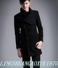 Black casual stand collar wool coat men 2016 jackets and coats male mens wool overcoats dress winter short trench jacket 2XL
