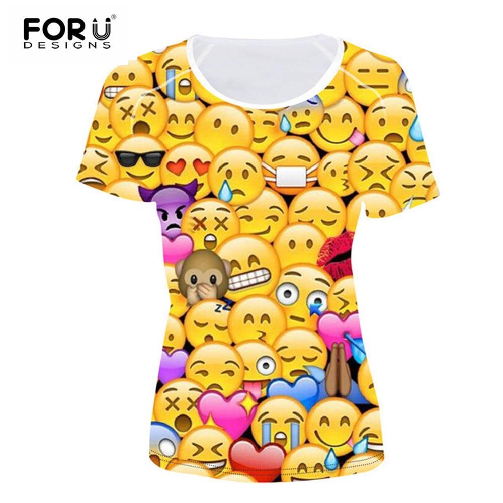 97fbf8cd44 US $16.99 15% OFF|FORUDESIGNS T Shirt Women Top Shirt Kawaii 3D Emoji Smily  Face Teen Girls Clothes Female Funny T shirt For Women Vetement Femme-in ...