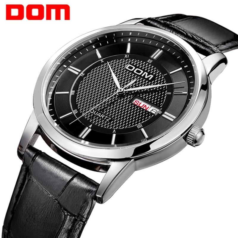 DOM Men's Watches Date Genuine Leather 30M Waterproof Clock Man Quartz Watches Men Fashion Casual quartz-watch 2018 male Relog
