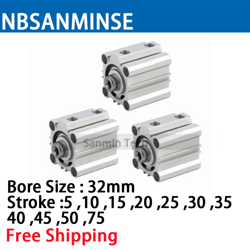 NBSANMINSE CQ2B32 Compact Cylinder Double Acting Single Rod Air Pneumatic Compact Cylinder Automation Application in Pneumatic Parts from Home Improvement