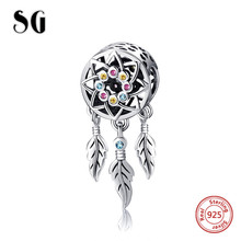 SG New style Dream catcher Beads with colorful CZ 925 Sterling Silver Fit pandora bracelets Jewelry making for women gifts sg new arrival 925 sterling silver charms dream catcher beads with cz fit pandora bracelets diy jewelry making for women gifts