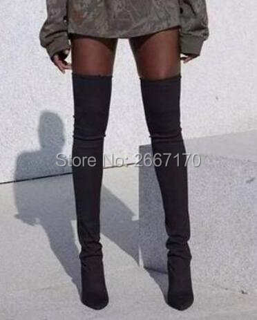 8e13e81921ee placeholder Celebrity Peep Toe Army Green Stretch Knit Thigh High Boots Women  Block Heels Overknee Sock Booties