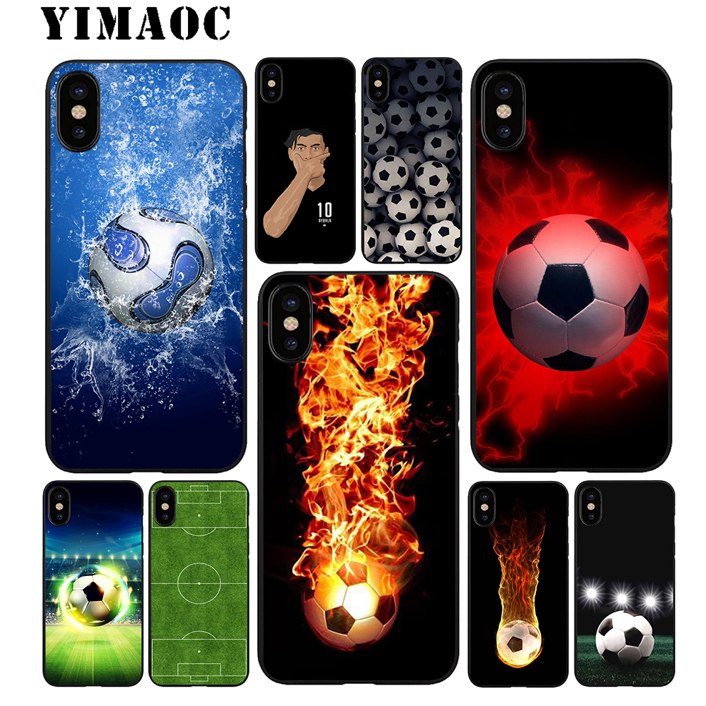 YIMAOC Soccer Football Soft TPU Black Silicone Case for iPhone X or 10 8 7 6 6S Plus 5 5S SE