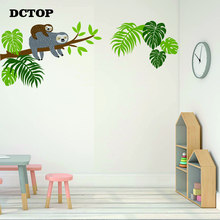 Sloth Tree Branch Wall Stickers Nature Tropical Palm Leaf Art Decals for kids baby Room Living Home Decor Mural
