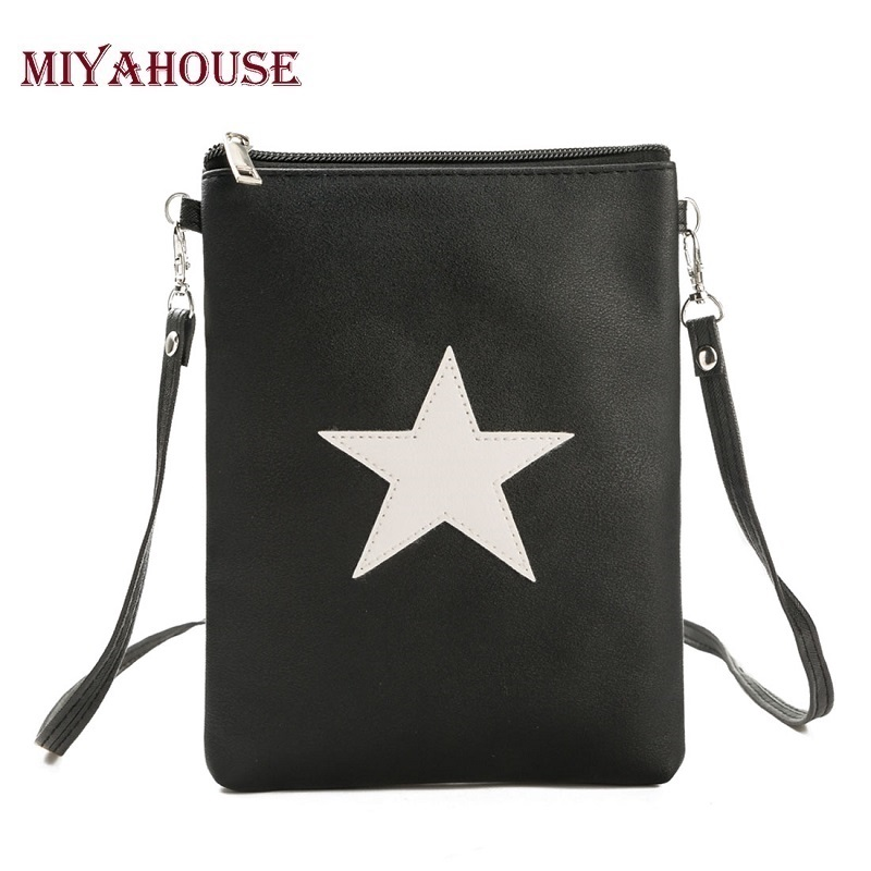 Miyahouse Soft Star Design Mini Shoulder Bag Mobile Phone Bag Fashion Small Women Messenger Bags PU Leather Crossbody Bag 2017 fashion all match retro split leather women bag top grade small shoulder bags multilayer mini chain women messenger bags