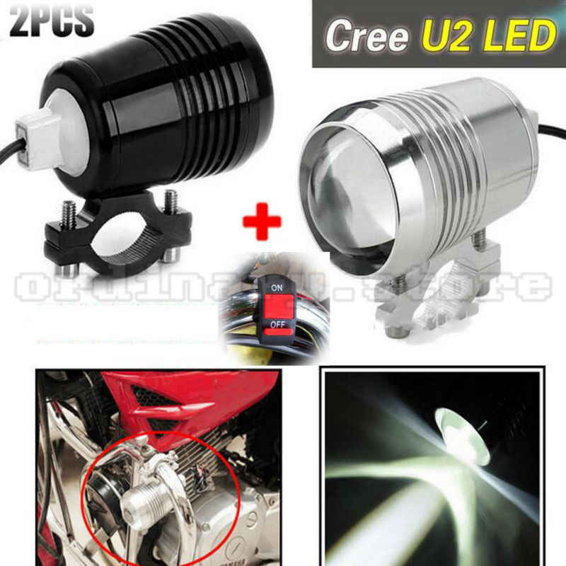 2PCS 30W Super Bright LED U2 Motorcycle LED Light Driving Fog Lamp Bulb Lens Headlight Offroad Car Truck SUV Spotlight + Switch