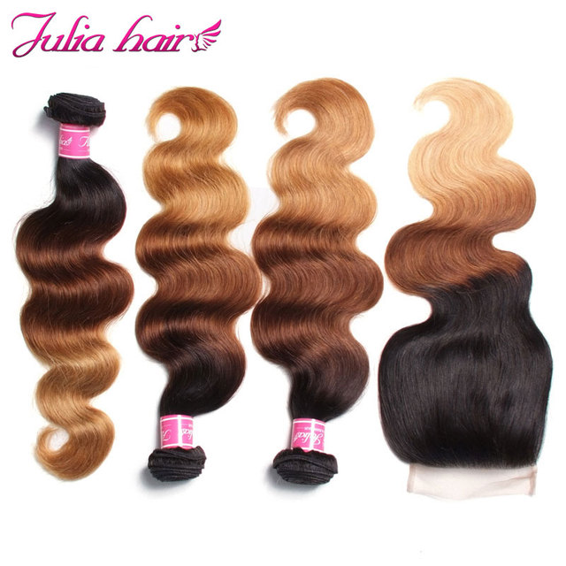 Julia Hair Ombre Bundles With Closure Brazilian Body Wave Human Hair Bundles With Closure 4*4 Lace Free Part Remy Hair 2