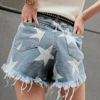 High Waist Shorts Shorts Jeans High Waist New Hot Sale Cotton Fashion Short Summer Cowboy Sloppy Irregular Star Tassel Female