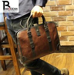 Новые моды для мужчин кожа pu портфель посланник сумка бренды бизнес сумки мужская сумка ретро портфель коричневый черный