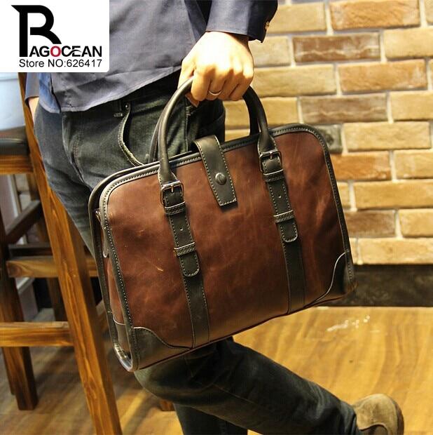 New Fashion Men Leather Pu Briefcase Messenger Shoulder Bag Brands Business Handbag Men's Travel Bag Retro Briefcase Brown Black