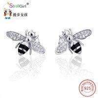 Strollgirl Leuke Bee Oorbellen Zilveren Oorbellen 925 Sterling Zilveren Sieraden Accessoires voor Vrouwen Kleine Oorbel 2017