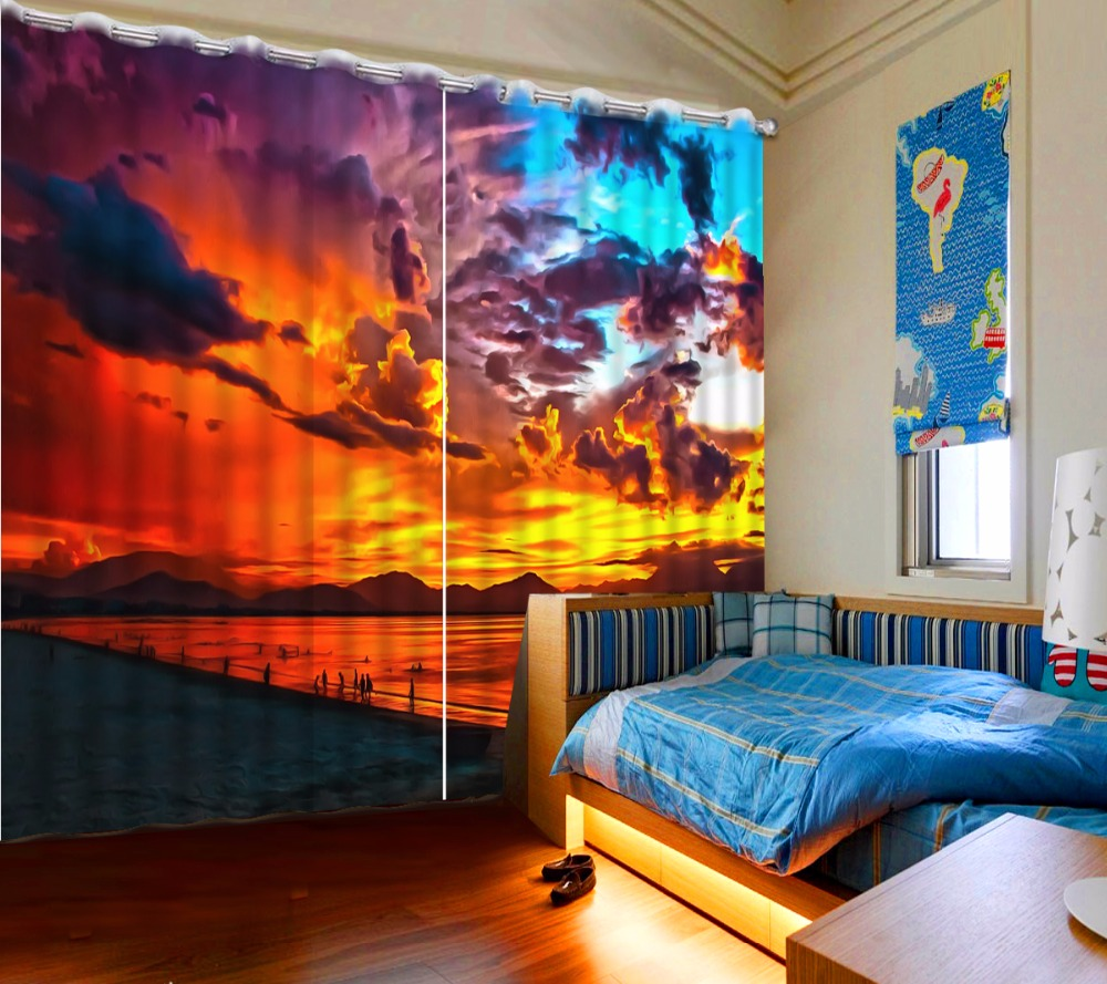 3D Curtain Beach Sunset Colorful Clouds Bed Living Room Office Hotel Cortinas Blackout Shade Window Curtains Curtain For Bathroo