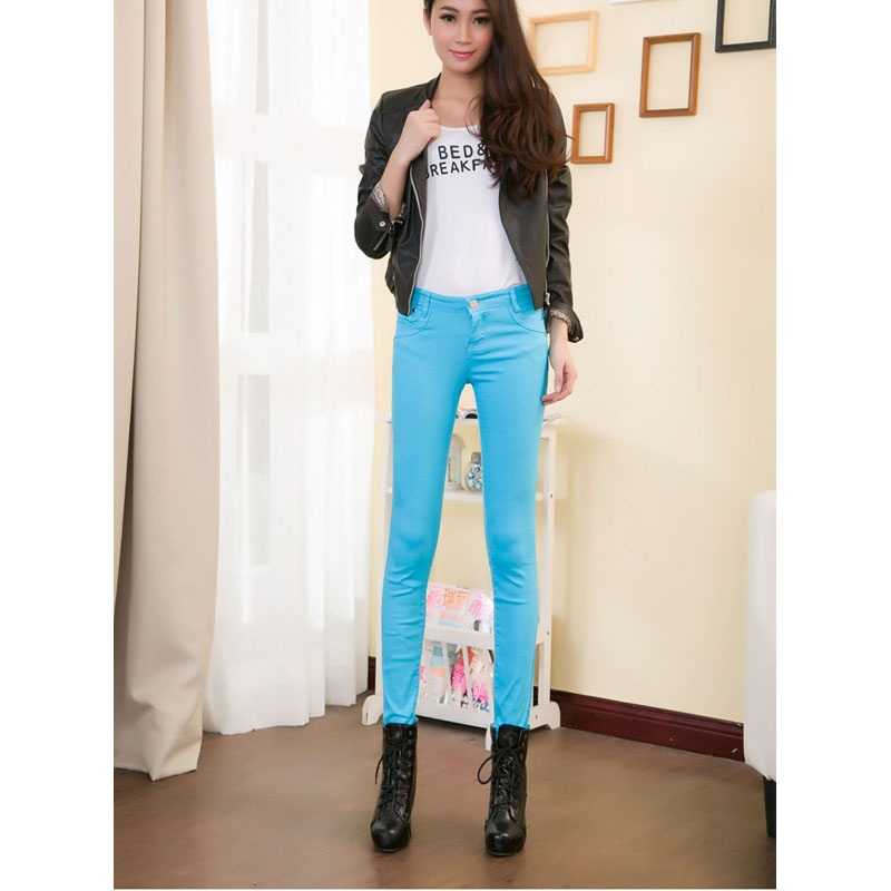 Wholesale 17 style Fashion Women Candy Colors Pencil Pants Spring Autumn Sexy Fit Jeans Casual Trousers slim pantalones DL1774 fashion europe style printed jeans men denim jeans slim black painted pencil pants long trousers tight fit casual pattern pants