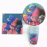 60pcs Lot Supplies Paper Plate Paper Cups Paper Napkins For 20 People Cartoon Trolls Theme Kids