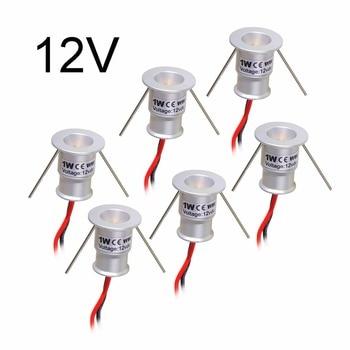 6 шт., светодиодный прожектор, встраиваемый в шкаф, мини Точечный светильник, водонепроницаемый, напольный, витрина для шкафа, дисплей, 1 Вт, DC12V KL