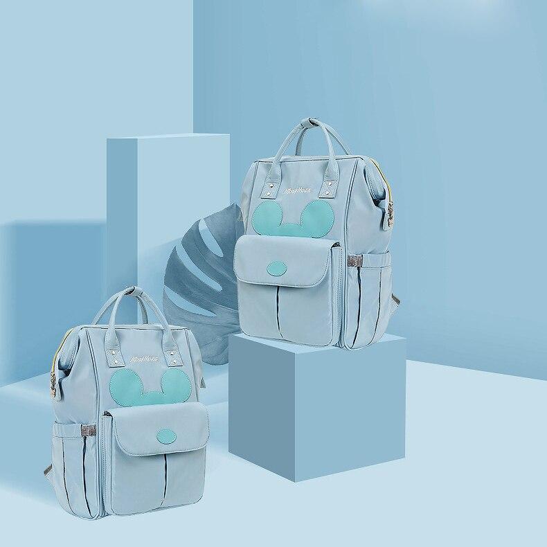 HTB1ZDJZLHrpK1RjSZTEq6AWAVXac Disney Diaper Bag Backpack For Moms Baby Bag Maternity For Baby Care Nappy Bag Travel Stroller USB Heating Send Free 1Piar Hooks