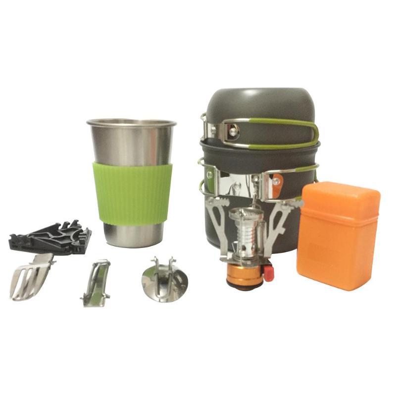 9 En 1 Juego de ollas para Picnic, ollas antiadherentes, cuencos, tazas portátiles de aleación de aluminio, Camping, senderismo, vajilla, utensilios de cocina de viaje