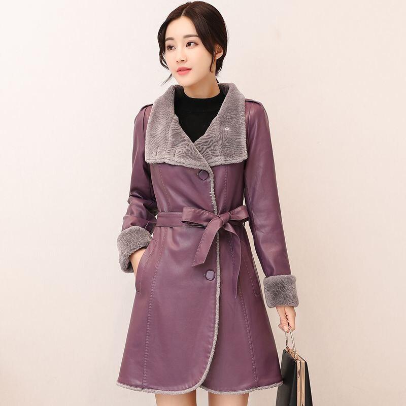 Véritable manteau en peau de mouton 2017 femmes épais chaud plus la taille pour l'hiver de haute qualité fourrure une pièce veste en cuir femelle fashionQH0855