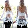 Элегантный sheer белое кружево блузка рубашка Осень сетки цветочные женщин майка Пляж cover up blusas прозрачный свободные топы