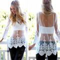 Elegant sheer white lace blouse shirt Autumn mesh floral women tank top Beach cover up blusas transparent loose tops
