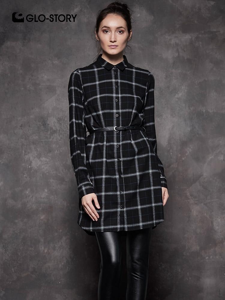 85b39c10629b GLO-STORY 2018 Fall Fashion Shirt Dress Long Sleeve Autumn Dress with Belt  Preppy Style Blouse Dress for Women Vestido WYQ-6888