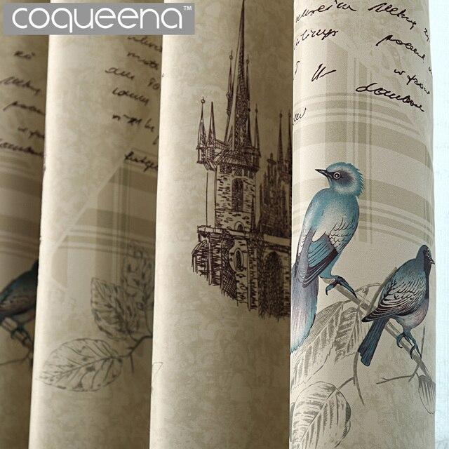 klare rustieke stijl gordijnen keuken woonkamer slaapkamer decoratieve vintage vogels gordijnen draperie home decor