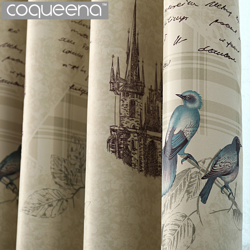 Ready Made Rustic Style Curtains For Kitchen Living Room Bedroom Decorative Vintage Birds Window Curtains Drapery Home Decor