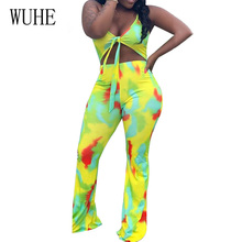 WUHE Retro Sexy Hollow Out Deep V-neck Lace-up Jumpsuits Elegant Sleeveless Tie Dyeing Print Casual Loose Summer Bodysuits