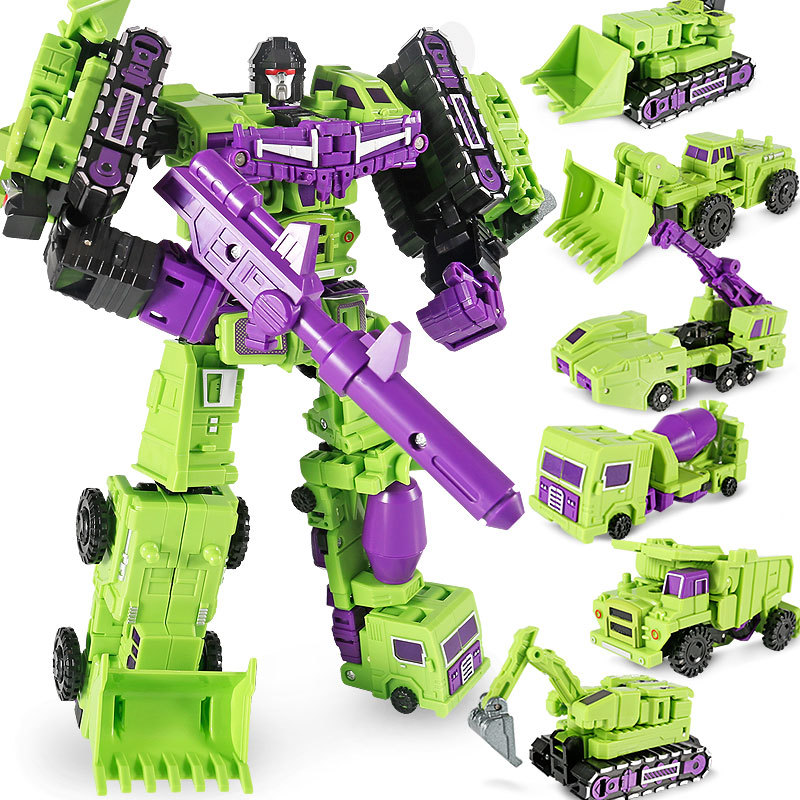 6 In 1 Engineering Car Combination G1 Transformation MF-17 Hercules Green Devastator DX9 MFT Action Figure Robot Collection Toys weijiang transformation 6in1 g1 devastator transformation action figures toy ko dx9 model robot car truck kid boy toys gifts