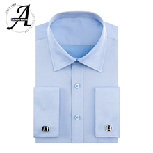 Alimens 8XL 7XL Big Size Slim Fit Long Sleeve Male French Cufflink Dress Shirts Brand Camisa Masculina Casual For Men