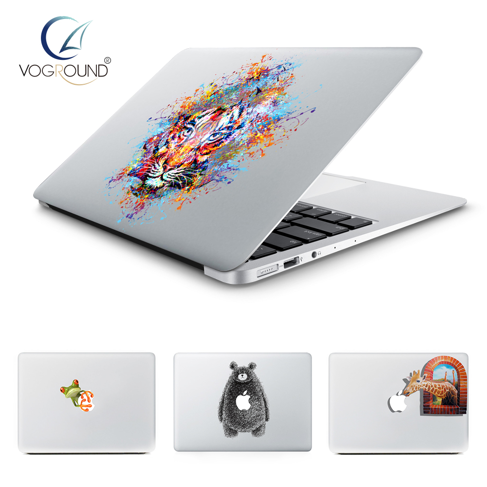 VOGROUND Anti-Scratch Ultra Thin Lovely Animal Pattern Sticker Cute Cartoon Vinyl Decal Cover for Macbook 11 12 13 15 inch