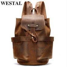 WESTAL 100% Crazy Horse Leather Backpack for Men Large Capacity School Bags Rucksack String Laptop Backpack Leather Bagpack 2946
