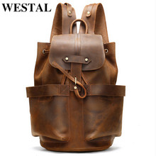 WESTAL 100% Crazy Horse Leather Backpack for Men Large Capacity School Bags Rucksack String Laptop Backpack with Pocket 2946(China)