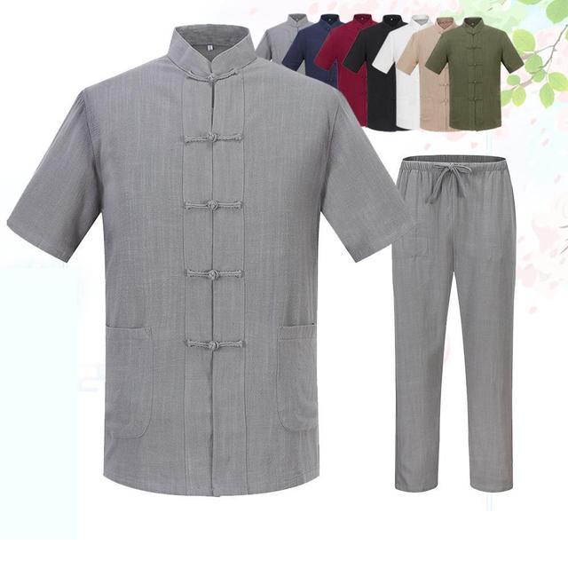 Summer Loose 100% Cotton Mandarin Collar Shirt&Pant Chinese Men Tai Chi Kung Fu Set Traditional Tang Suit Plus Size 3XL 4XL