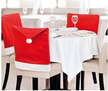 6 Stücke 65×55 cm Weihnachtsmann-hut Stuhlhussen Christmas Dinner Table Party Weihnachtsdekoration Partei Liefert