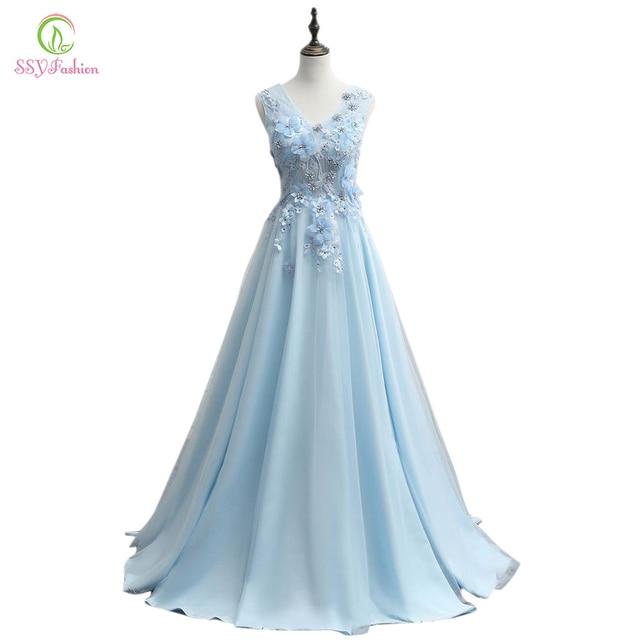 Hellblaues kleid lang