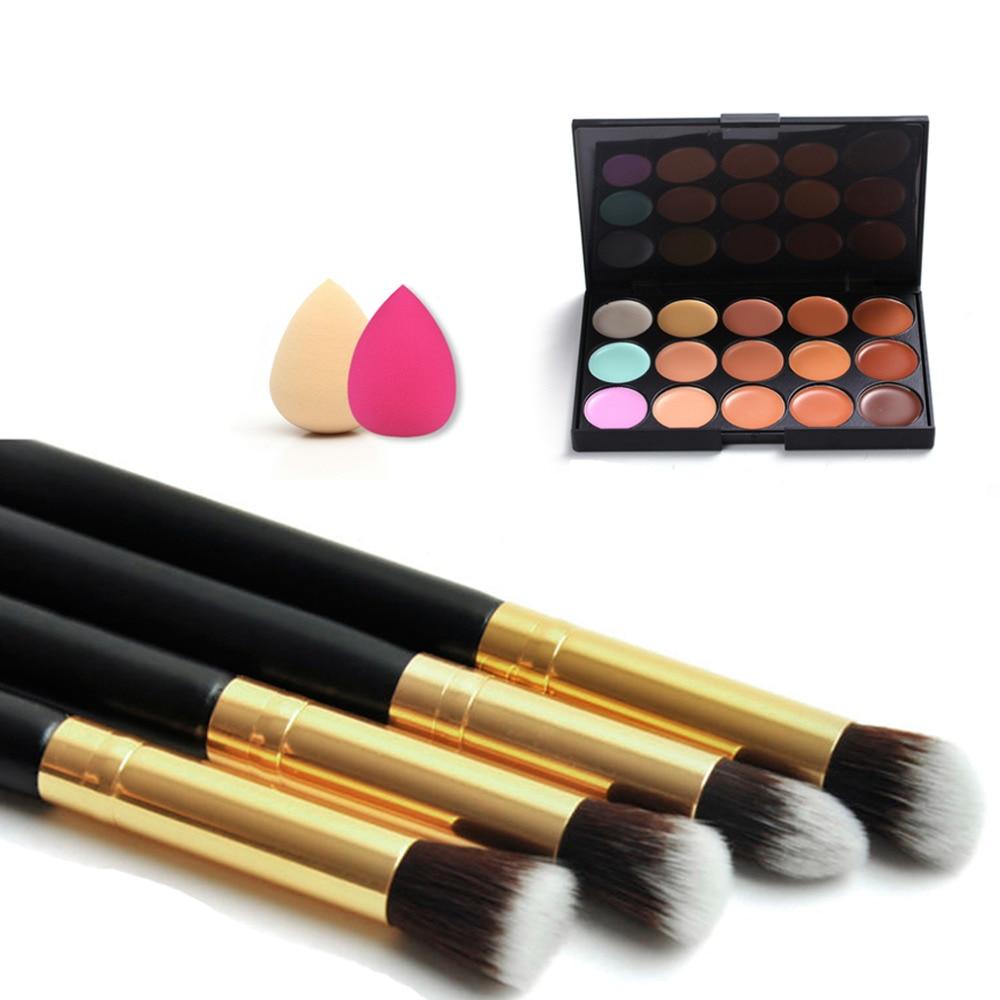 Professional 15 Color Concealer Palette +4pcs makeup Brushes+2pcs Sponge Puff Makeup Set  Face Makeup tool 2017 New top quality